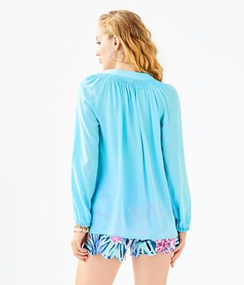 Elsa Silk Top, Bali Blue, large 1