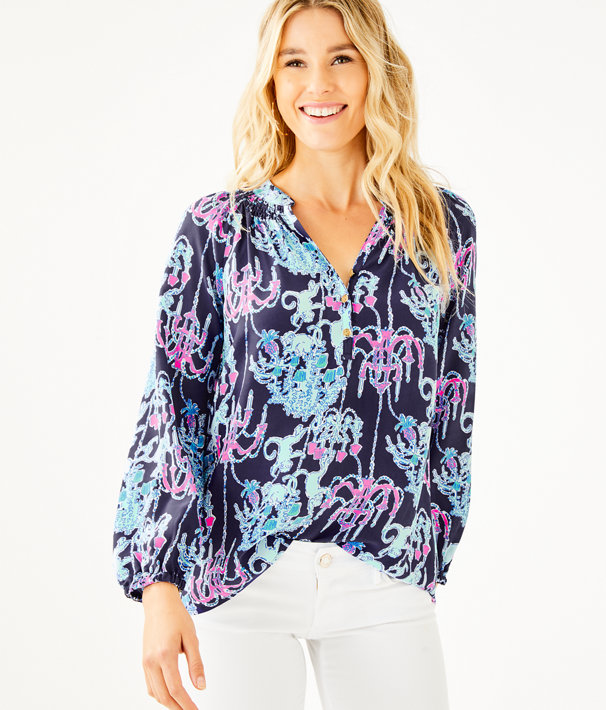 Elsa Silk Top, Bright Navy Pop Up Monkey Trouble, large
