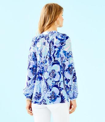 Elsa Silk Top, Coastal Blue Catch N Keep, large