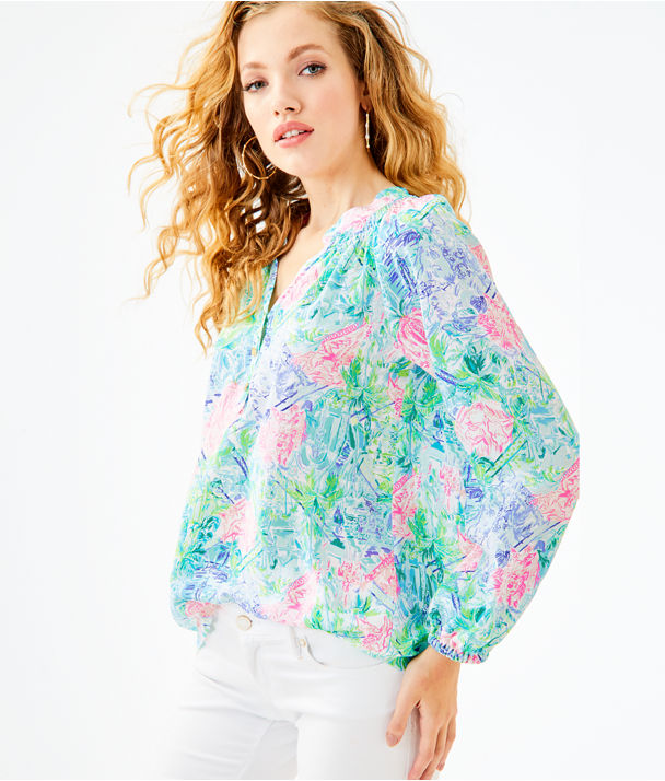 Elsa Silk Top, Multi Bohemian Queen Small, large