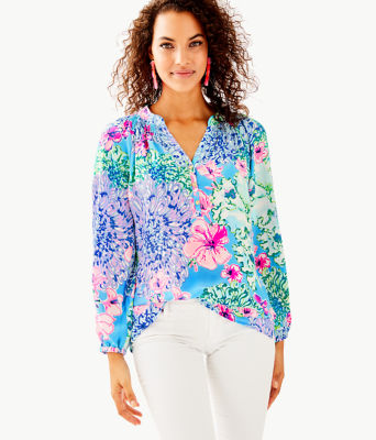 Elsa Silk Top, Multi Special Delivery, large 0