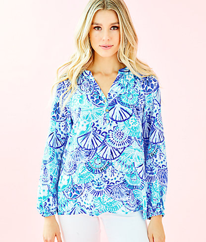 Elsa Silk Top, Turquoise Oasis Half Shell, large