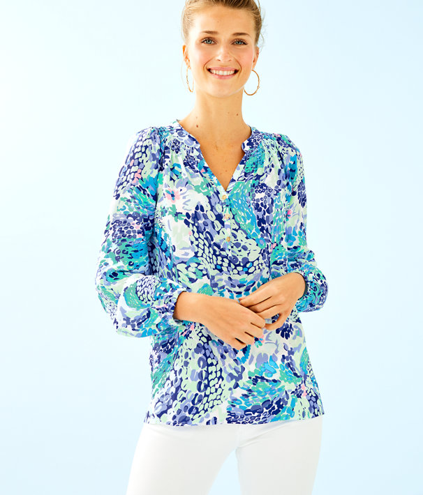 Elsa Silk Top, Turquoise Oasis Wave After Wave, large