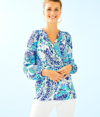 Elsa Silk Top, Turquoise Oasis Wave After Wave, large 0