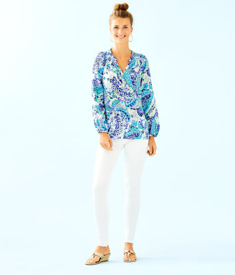 Elsa Silk Top, Turquoise Oasis Wave After Wave, large 2