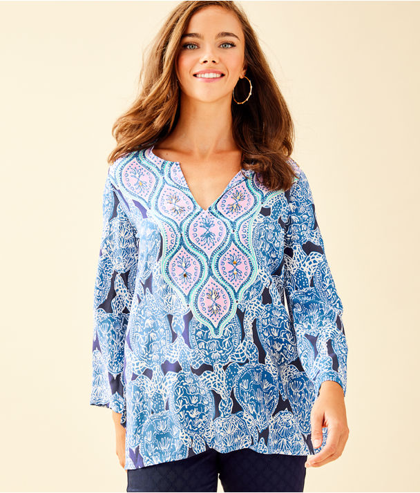 "29"" Renato Silk Tunic, Deep Indigo Snap To It Engineered Tunic, large"