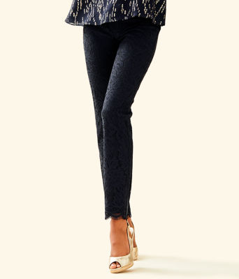 "28"" Kelly Lace Skinny Ankle Pant, Onyx Paradise Found Lace, large"