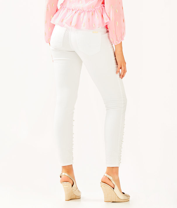 "29"" Worth Skinny Jean - Custom Pearl Embellishment, Resort White, large"