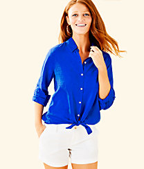 Sea View Button Down Top, Blue Grotto, large