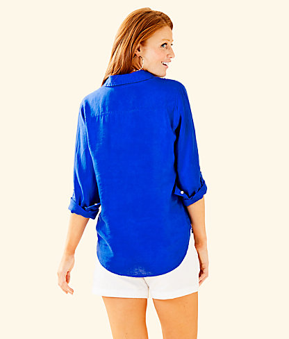 Sea View Button Down Top, Blue Grotto, large 1