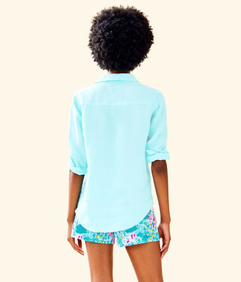 Sea View Button Down Top, Whisper Blue, large 1