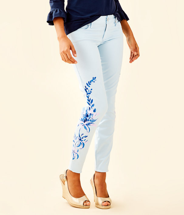 """31"""" Worth Skinny Jean - Custom Lilly Artwork, Crew Blue Floral Painted Jean, large"""
