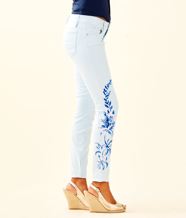 "31"" Worth Skinny Jean - Custom Lilly Artwork, Crew Blue Floral Painted Jean, large"