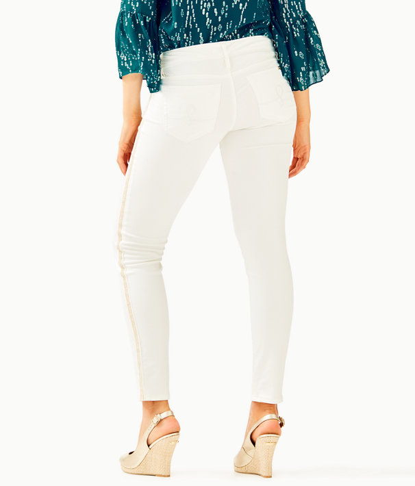 "31"" Worth Skinny Jean - Sateen With Side Seam Trim, Coconut, large"