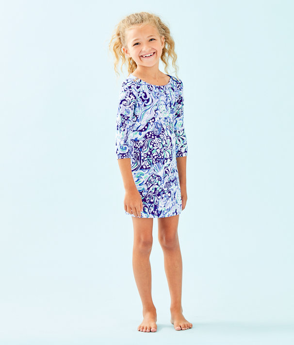 Girls UPF 50+ Mini Sophie Dress, Royal Purple 60 Animals, large