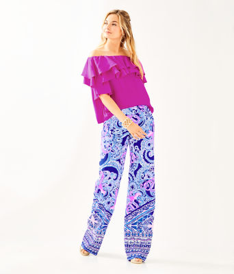 "33"" Bal Harbour Palazzo Pant, Blue Grotto Legga Sea Engineered Pant, large 3"