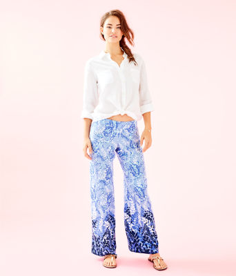 "33"" Bal Harbour Palazzo Pant, Blue Peri Turtley Awesome Engineered Pants, large 3"