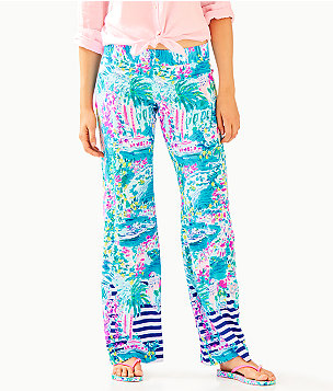 "33"" Bal Harbour Palazzo Pant, Multi Postcards From Positano Engineered Pant, large"