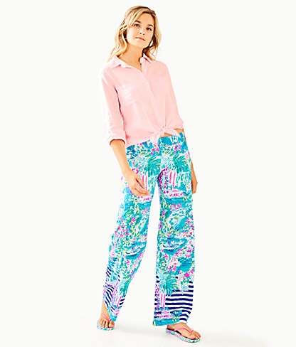 """33"""" Bal Harbour Palazzo Pant, Multi Postcards From Positano Engineered Pant, large 3"""