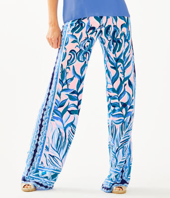 "33"" Bal Harbour Palazzo Pant, Pink Tropics Tint Heat Wave Engineered Pants, large"
