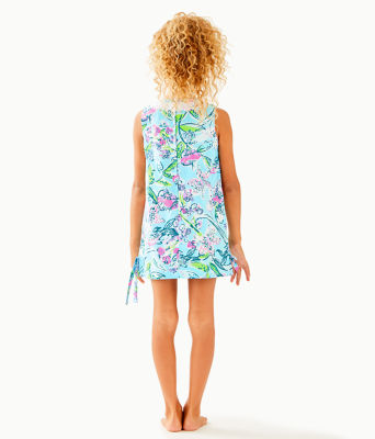 Girls Little Lilly Classic Shift Dress, Bali Blue Sway This Way, large 1