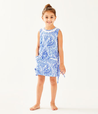 Girls Little Lilly Classic Shift Dress, Blue Peri Turtley Awesome, large 0