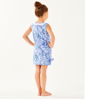 Girls Little Lilly Classic Shift Dress, Blue Peri Turtley Awesome, large 1