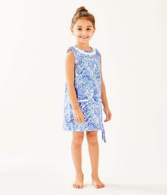 Girls Little Lilly Classic Shift Dress, Blue Peri Turtley Awesome, large 2