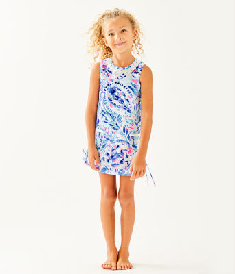 Girls Little Lilly Classic Shift Dress, Breakwater Tint Party Wave, large