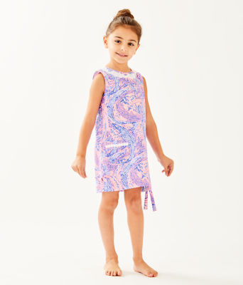 Girls Little Lilly Classic Shift Dress, Coastal Blue Maybe Gator, large