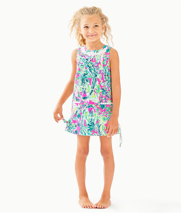 Girls Little Lilly Classic Shift Dress, Multi Snap Back, large