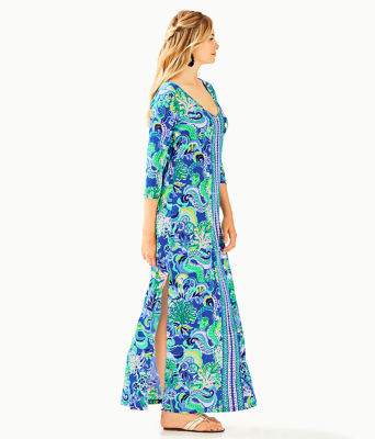 Anissa Maxi Dress, Blue Grotto Sirens and Spirits Engineered Maxi Dress, large