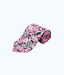Mens Tie, Hibiscus Pink Hangin With My Boo Tie, large