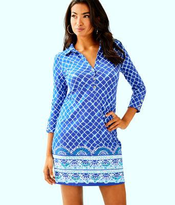 UPF 50+ Ansley Polo Dress, Blue Grotto Tide Up Engineered Dress, large 0