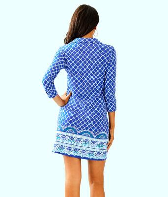 UPF 50+ Ansley Polo Dress, Blue Grotto Tide Up Engineered Dress, large 1
