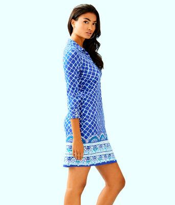 UPF 50+ Ansley Polo Dress, Blue Grotto Tide Up Engineered Dress, large