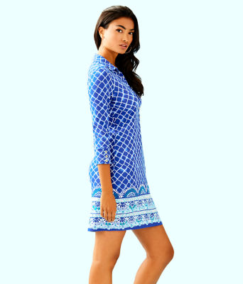 UPF 50+ Ansley Polo Dress, Blue Grotto Tide Up Engineered Dress, large 2