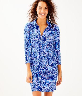 UPF 50+ Ansley Polo Dress, Coastal Blue Whispurr, large