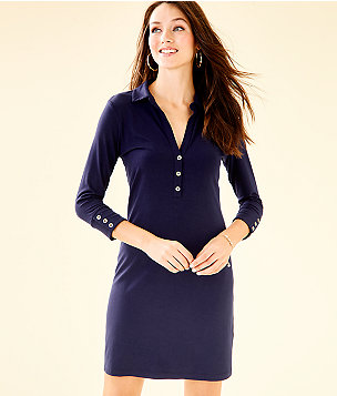 UPF 50+ Ansley Polo Dress, True Navy, large