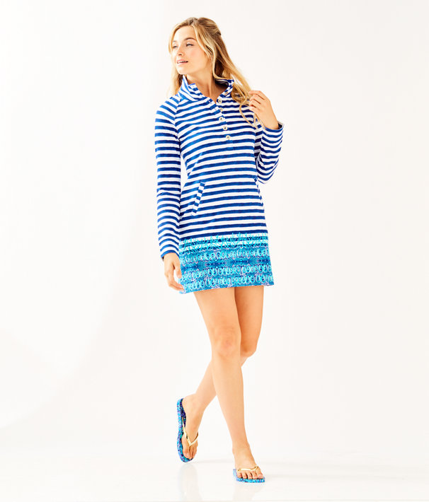 UPF 50+ Captain Dress, Bright Navy Positano Stripe Engineered Dress, large