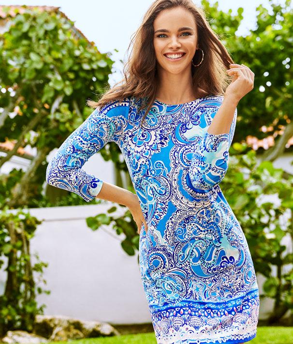 Ophelia Swing Dress, Coastal Blue Legga Sea Engineered Dress, large