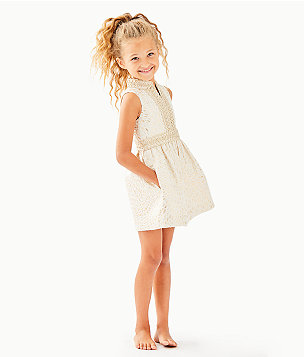 Girls Mini Franci Dress, Gold Metallic Lagoon Jacquard, large