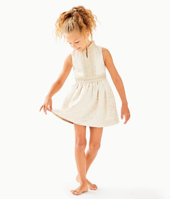 Girls Mini Franci Dress, Gold Metallic Lagoon Jacquard, large 2