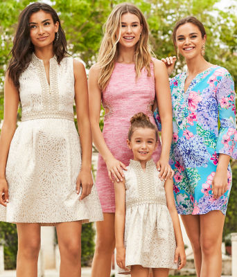 Girls Mini Franci Dress, Gold Metallic Lagoon Jacquard, large 3