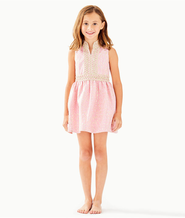 Girls Mini Franci Dress, Pink Tropics Lagoon Jacquard, large