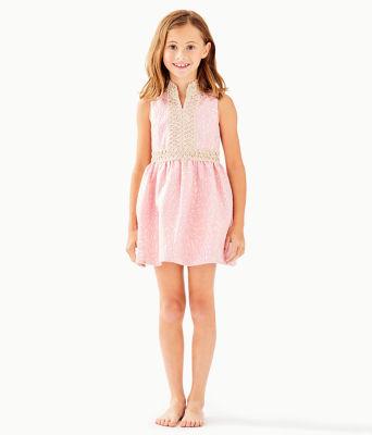 Girls Mini Franci Dress, Pink Tropics Lagoon Jacquard, large