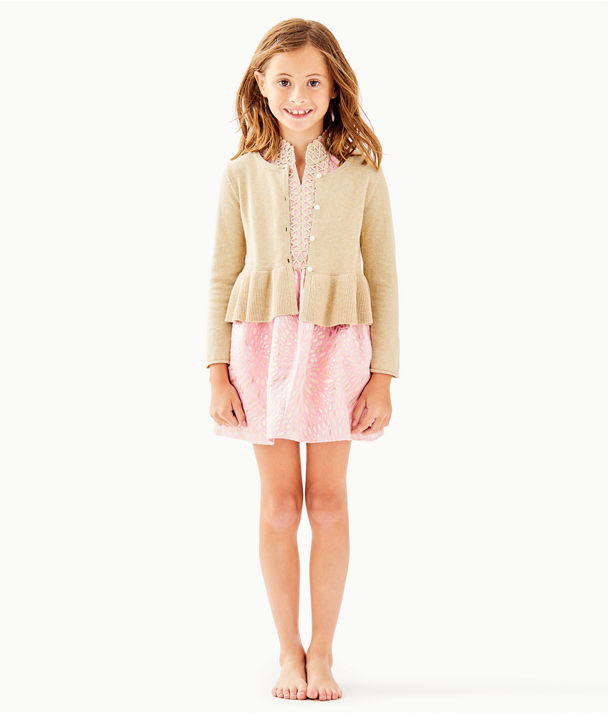 Girls Adelaide Cardigan, Gold Metallic, large
