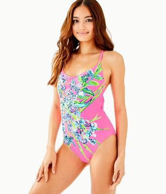 Azalea One Piece Swimsuit, Pink Tropics Sway This Way Eng Swim One Piece, large
