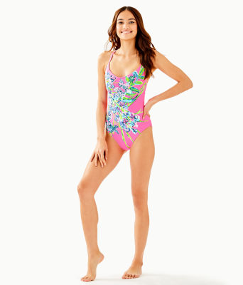 Azalea One Piece Swimsuit, Pink Tropics Sway This Way Eng Swim One Piece, large