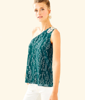 Sienne One Shoulder Silk Top, Inky Tidal Fish Clip Chiffon, large 0